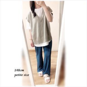 【154cm娘の服】深みのあるブルーが爽やか♡グレイル/サテンプリーツパンツ(S)コーデ