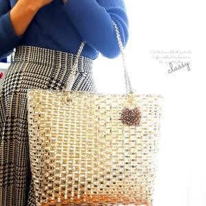 ジュエリーカゴバッグと編み編みバッグチャーム♡