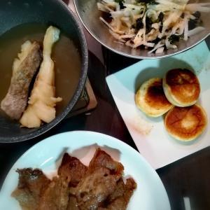 1月③晩御飯・白はんぺんにバター・旦那作炒飯・松屋の鍋★
