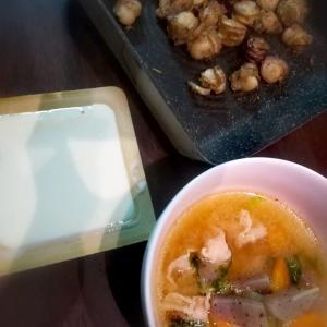 4月①晩御飯・ダシダを・赤から麻婆豆腐・バーベキュー・目玉焼きプリン★