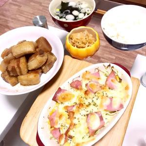 キャベツとベーコンのチーズ焼き&節約刺身のツマの味噌炒め