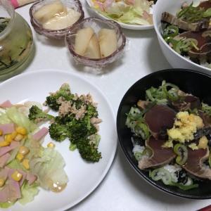 鰹のタタキ丼→お茶漬けとルレクチェ