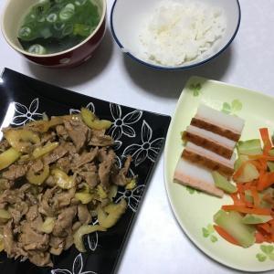 セロリと豚肉の手作り焼肉のタレ炒め