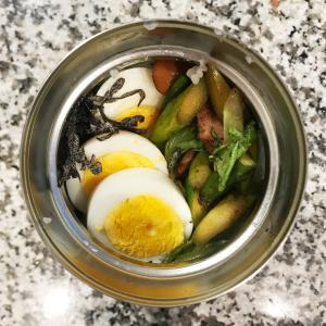 スープジャーごはん弁当〜ウィンナーとアスパラレタス炒め