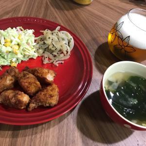 鶏胸肉の唐揚げとコールスローサラダ