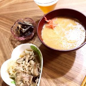 牛肉のしぐれ煮と熊本もっこすラーメン