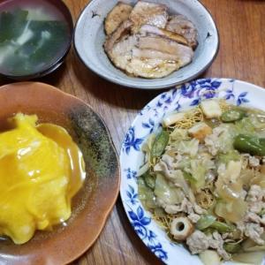 天津飯 皿そば 時短簡単節約 大家族手抜き晩ごはん