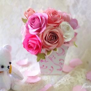 【紙のお花】ピンクグラデーションアレンジ