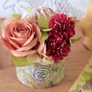 【紙のお花】ニュアンスカラーなバラアレンジメント