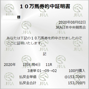 3連単 153,700円的中!(クイーンステークス)