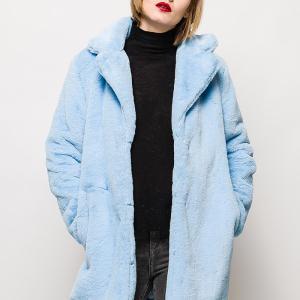 今なら実質8300円ベビーブルーがきれいな柔らかい手触りのフェイクファーコート☆春まで着れる☆彡