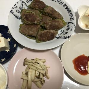 昨日の晩御飯*ピーマンの肉詰め*