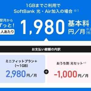 ソフトバンク 新料金プラン ミニフィットプラン+(キャリアメール、Yahoo!プレミアムが付いて2980円)