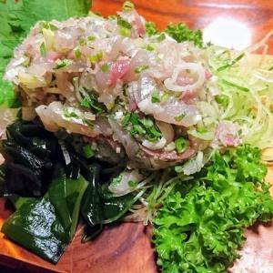 安房勝山 海鮮料理 やみぞであじのたたきとカマスの塩焼きを食べました