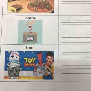 """小学生クラス 単語""""trash""""への反応"""