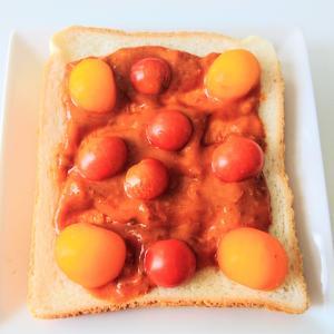いなば食品 の 深煮込みカレー でトマトカレートースト♪
