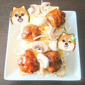 サラダとマッシュルームの肉団子甘酢がけトースト♡