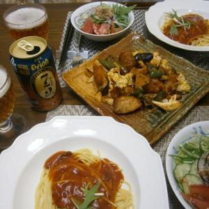 オリオンビール 75(NAGO)と自作パスタに◎