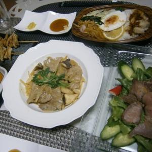 ポークのレモンクリームソースで晩ご飯、家事道と豚ミンB!