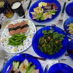 スパムむすびでハワイアンな晩ご飯、鶏皮で一品!