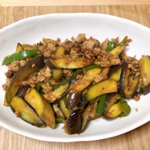 挽肉とナスのピリ辛味噌炒め&野菜焼き#産直市