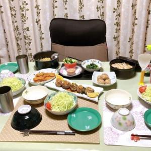 椎茸の肉詰め焼き&焼き鮭の炊き込みご飯