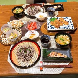 豆腐のつくね焼きとザル蕎麦で晩ご飯