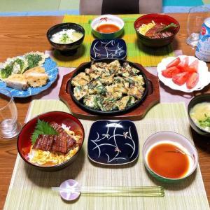 長ネギとニラのチヂミ&酢飯で鰻丼