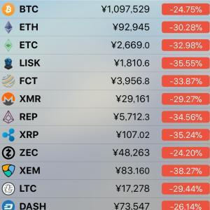 仮想通貨の暴落(ビットコイン連動)
