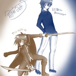 迅龍さんとゼノンんさんを描いたよ!(要はファンア) #そにぶ