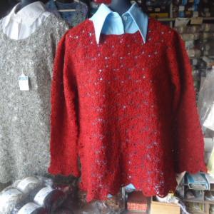 カスパリー編み応用、梅鉢草11模様のセーターの作り方。
