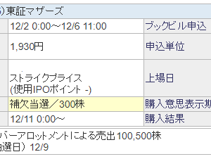【IPO】Buy Sell 補欠でした