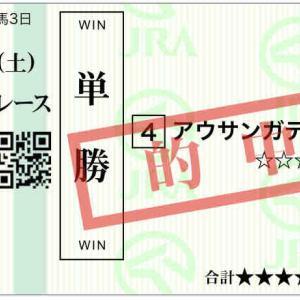 2020/6/13(土) 成績 28戦7勝 5400円→4920円 91%