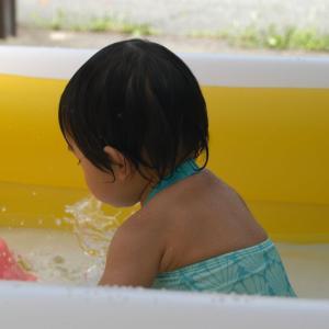 マメちゃん初めてのプール遊び。