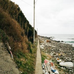 MINOLTA TC-1と油谷川尻港の先の道なき海岸