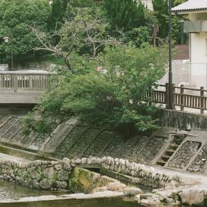 PENTAX 67と川床から眺める音信川に映るビル