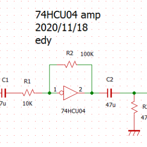 74HCU04を使ったアンプの実験。
