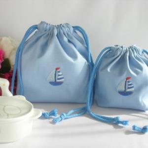 【男の子用】手刺繍 通園おべんとう袋とコップ袋セットが完成いたしました