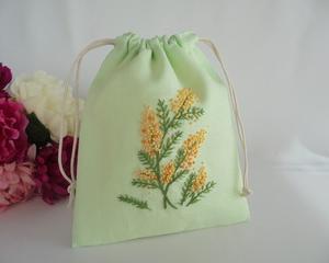 手刺繍 ミモザのポーチ イングリッシュガーデン