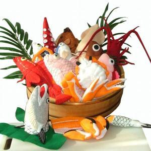 みんなでお魚屋さんごっこしない?フェルトの魚と北海道プライスのホタテ稚貝100g39円・・・