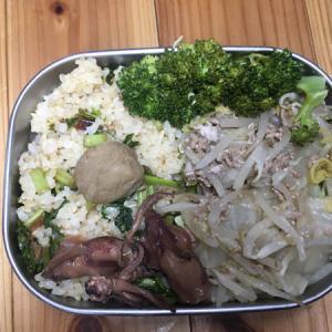 そぼろ煮の汁で野菜の蒸し焼きとジコイカの煮つけ