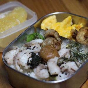 のっけ弁当ー6/19:グレの酒蒸と梅干の天ぷら