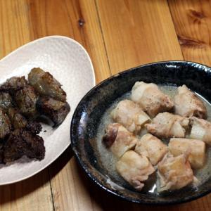 今週の料理、冷凍蒟蒻の唐揚げと白葱の豚肉巻き等