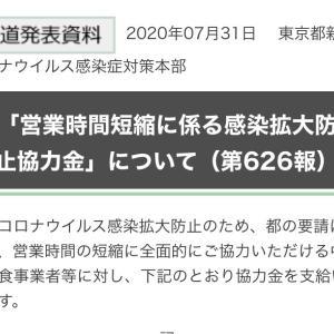 東京都  営業時間短縮に係る感染拡大防止協力金 :一事業者当たり一律20万円