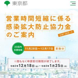 東京都・営業時間短縮に係る感染拡大防止協力金