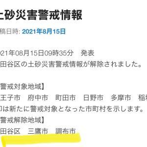 2021年08月15日09時35分 発表 世田谷区の土砂災害警戒情報が解除されました。