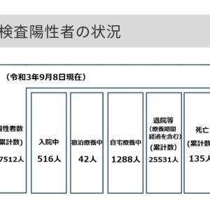 世田谷区内の新型コロナウイルス感染症の陽性者数と自宅療養数