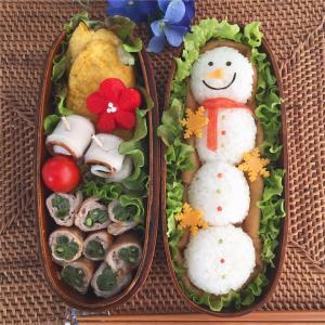 ロング雪だるまいなり寿司弁当〜マーブルアートのリースとか色々♪〜
