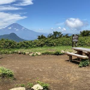金時山~明神ヶ岳② 明神ヶ岳から見る金時山越しの富士山 2021.7.21