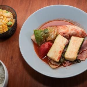 鯛とレタスのトマト蒸し煮献立